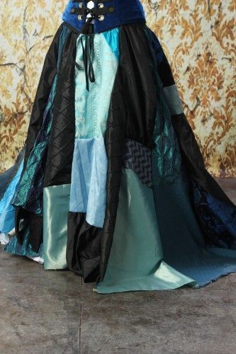 Full Length Patchwork Skirt in Blues and Black