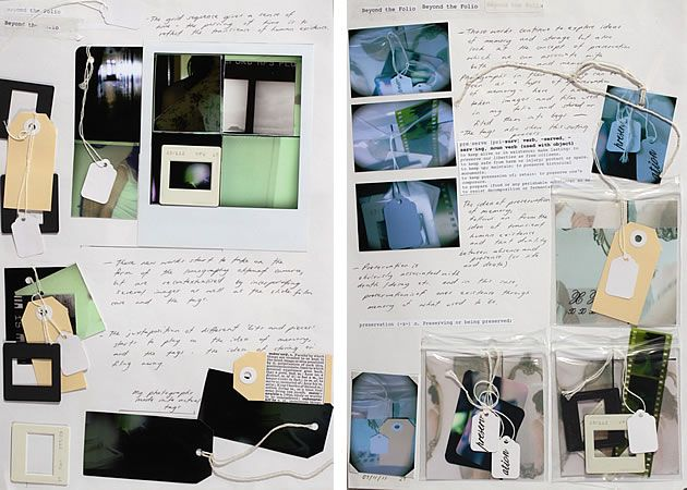 This highly accomplished and creative photography sketchbook layout is part of a project that explores the transient nature of human existence. Different films, cameras, approaches and formats are used, as well as sculptural elements (negatives and other items are inside plastic bags attached to the page). With items arranged on slight angles, the work takes on an off-kilter, landed-where-it-fell appearance, however, this is deceiving: the page is skilfully and purposefully composed