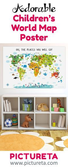 """Ready to hang on the wall, the poster of the map of the world for kids has adorable design to make beautiful nursery art, child's bedroom wall decor, or serve as playroom's educational geography game titled """"Oh, the places you will go!"""" with white background to match any nursery or playroom interior.  Perfect baby shower gift."""