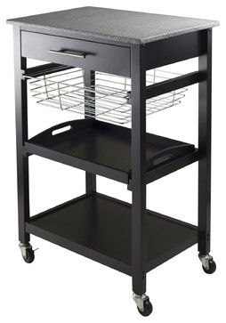 Winsome Wood Julia Utility Cart with Black Finish X-22302 contemporary-bar-carts