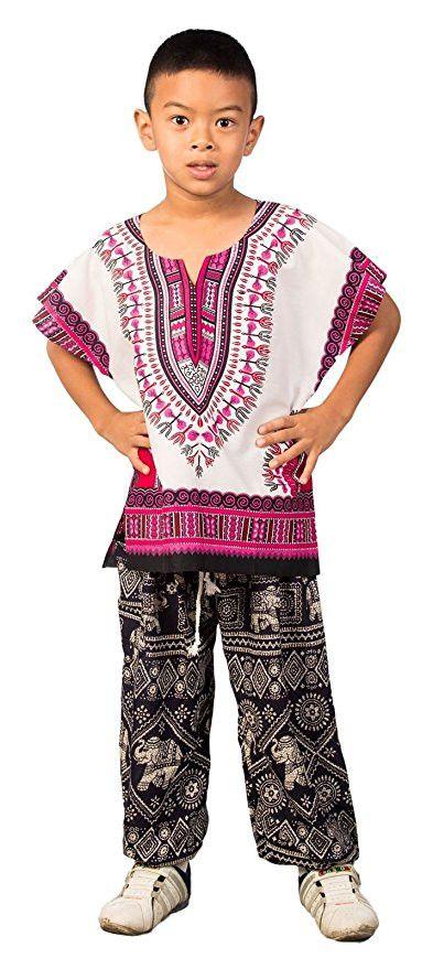 Kids African Dashiki Shirt - White & Pink