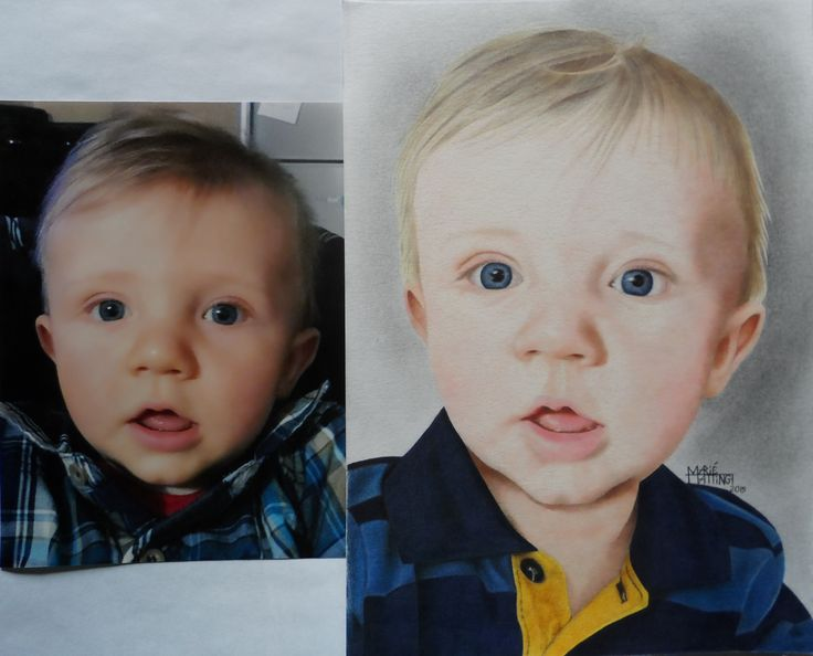 Commission work in Polychromos coloured pencils - I combined 3 photos