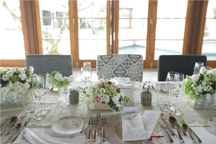 White Rose & Lisianthus, Ornithogalum and Pink Rose with Red Hypricum on the Dinner Table b by Tirtha Bridal Uluwatu Bali