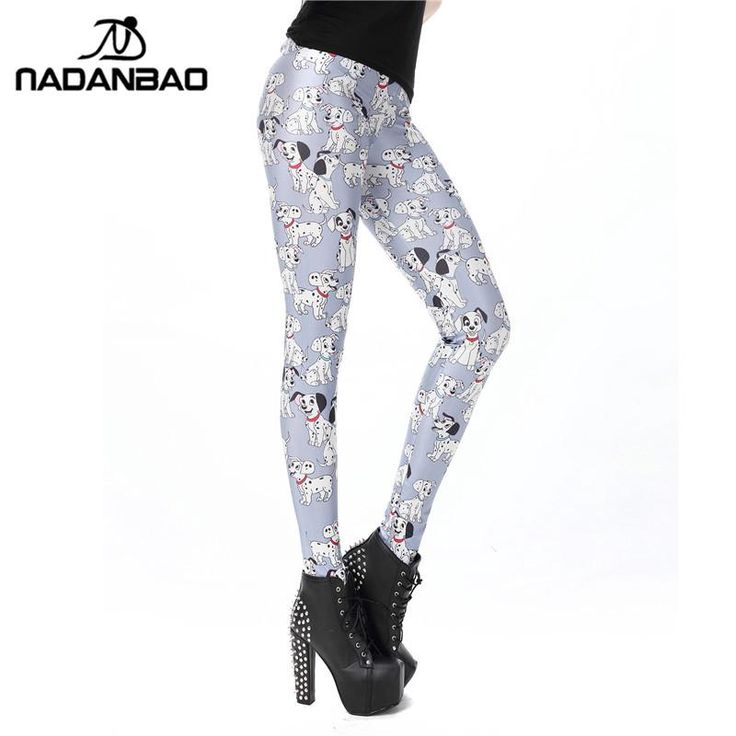 NADANBAO New Leggings For Woman Spotty Dogs Print Leggings For Female Black Milk Pencil Pants Women Pant