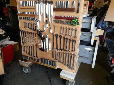 Rolling tool cart mechanic tools workshop pinterest for Rolling lumber cart plans