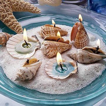 Centerpiece for the beach dinner table.