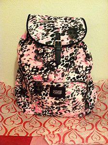 NWT Victorias Secret PINK Leopard Print Backpack School Book Bag