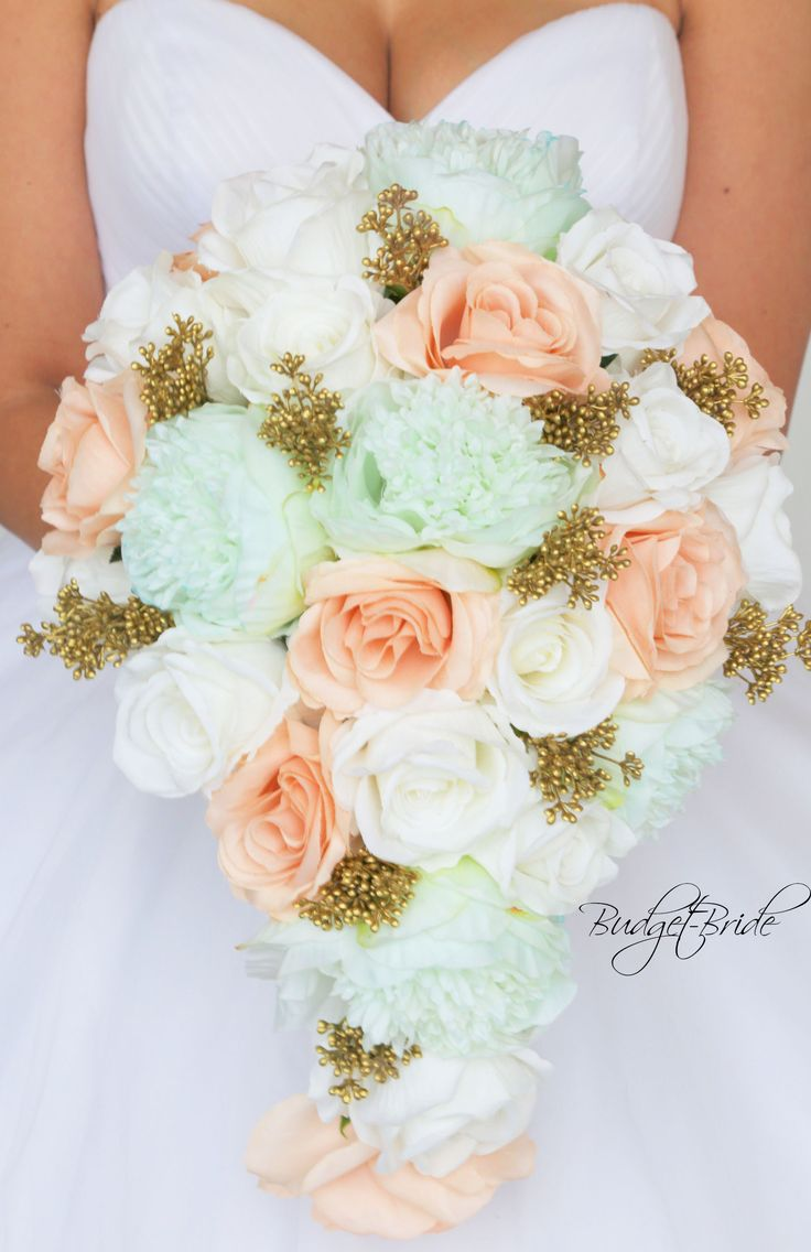 Davids Bridal Mint Green and Gold Bouquet