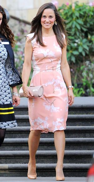 Pippa Middleton wearing a pink floral dress by Tabitha Webb, a piece the designer created to raise money for Fashion Targets Breast Cancer.