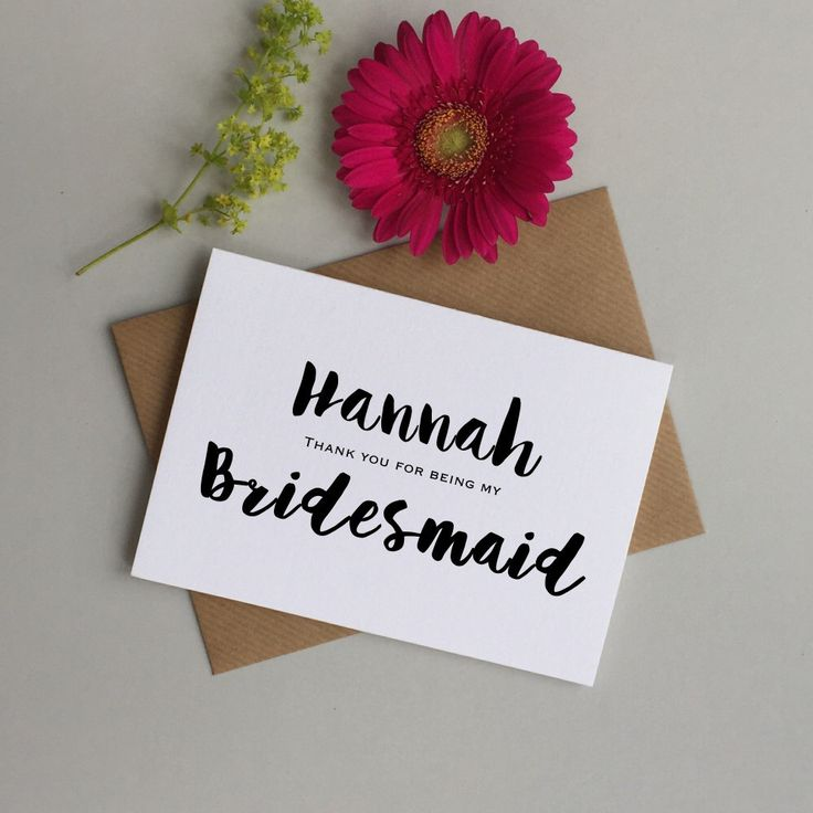 personalized wedding thank you notes%0A Personalised Bridesmaid card  Thank you Bridesmaid card  Card for  Brideamaid  Maid of honour