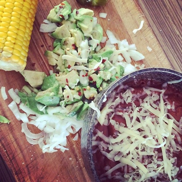 This is my son's version, he loves some grated cheese on top!  #kidneybeans #chilli #soup #avocado