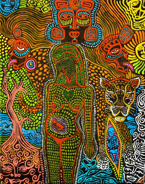 Inspiré de l'Art sacré d'accouchement avec jaguar Maya art visionnaire de dieux arbre de vie par Isabel Bryna