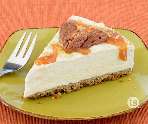 Frozen Pumpkin Cheesecake with Spiced Pecans - This creamy cheesecake has a hint of pumpkin and cider flavors.