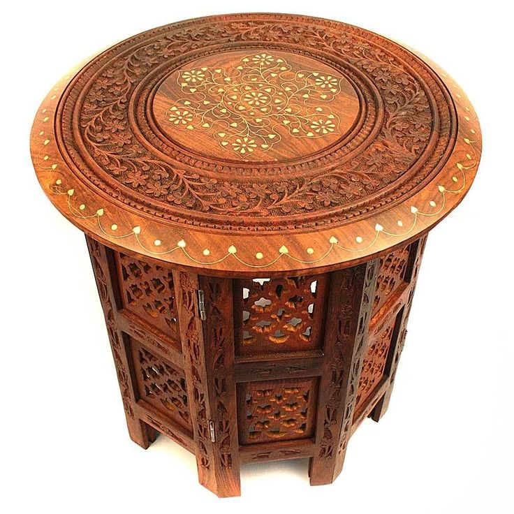 Round Wooden Table In Floral Carving and Brass Inlay Work With Mesh Design Stand
