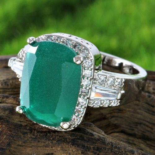 7.33ctw 14k White Gold Filled, Beautifully Created Fine Emerald & White Sapphire Ring SM8842. Starting at $1