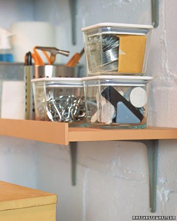 A simple piece of trim ensures that you'll never have to worry about a screwdriver, nail, or bolt rolling off a shelf and damaging a project on the bench below.Trim Ensure, Organic Basements, Work Shelf Ledge, Storage Room, Martha Stewart, Finish Nails, Basement Storage, Bolt Rolls, Simple Piece