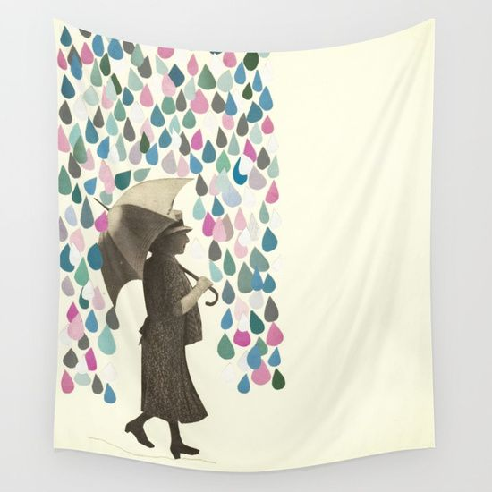 Rain Dance Wall Tapestry. #collage #paper #vintage #photomontage #people #pop-surrealism #portrait #raindrops #teal #green #rose-pink #weather #umbrella #woman #rain #blue #white #female #figure #cassia-beck