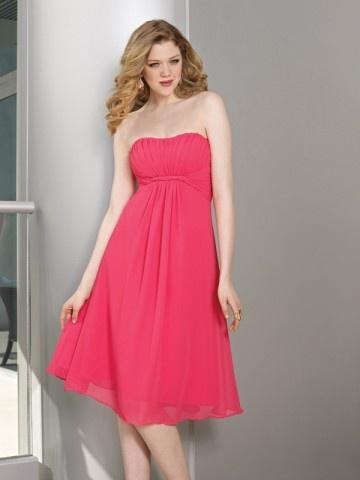 (FITS0242485 )A-line Strapless Ruffles  Sleeveless Knee-length  Chiffon Bridesmaid Dress / Cocktail Dress / Homecoming Dress