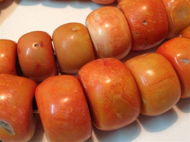 Antique natural Coral beads Chinese Salmon color old necklace 292 gram (m783)
