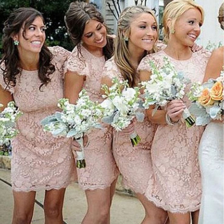 Fashion Cap Sleeve Open Back Small Round Neck Short Lace Blush Pink Mini Cheap Bridesmaid Dresses
