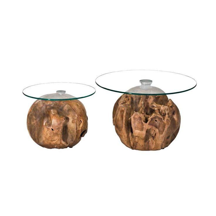 Teakholz Kugel Couchtisch Set Mit Runder Glasplatte Kaufen 2 Teilig Jetzt Bestellen Unter