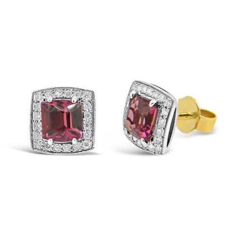 'Halo' Pink tourmaline and diamond studs