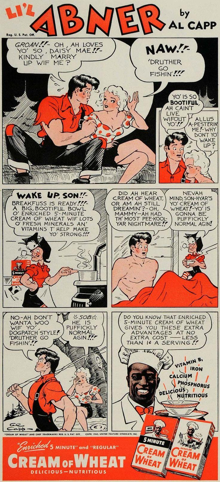 1942 Ad Cream of Wheat Al Capp Lil Abner Comic Strip - ORIGINAL ADVERTISING GH4