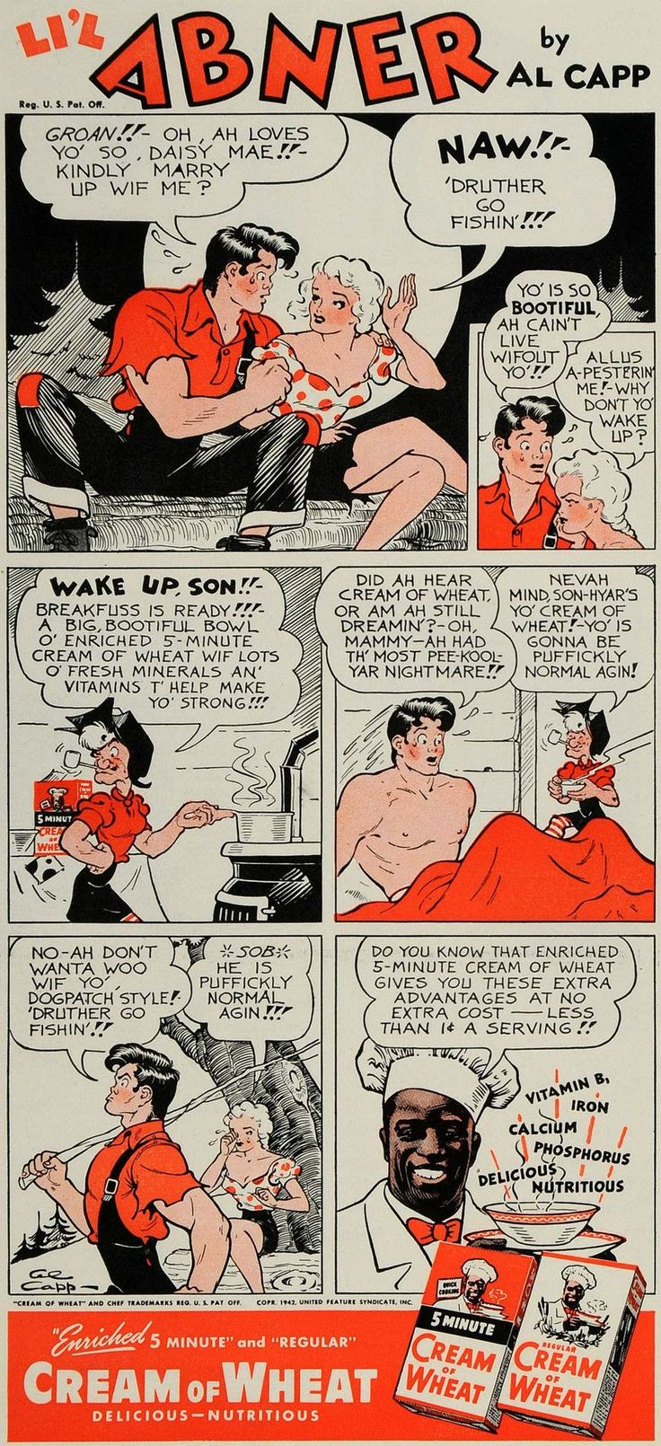 1942 Ad Cream of Wheat Al Capp Lil Abner Comic Strip - ORIGINAL ADVERTISING GH4 - Period Paper