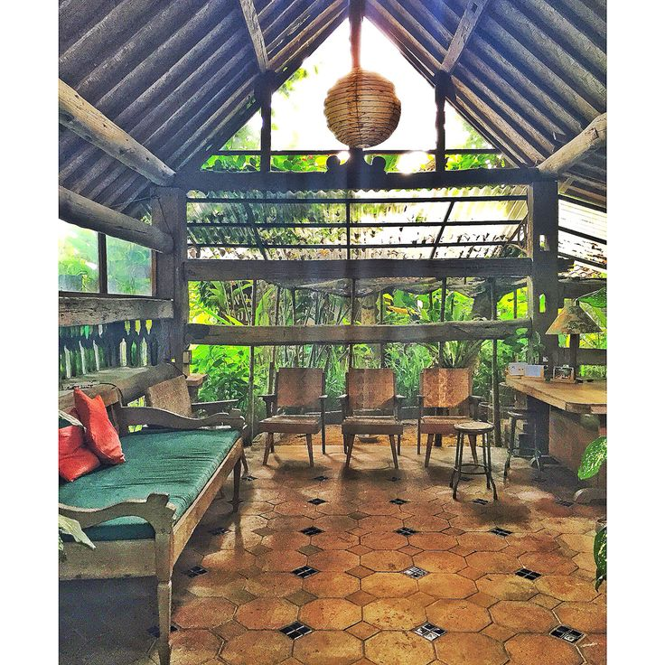 Lobby with recycled furniture at Omah Apik Pejeng Ubud Bali