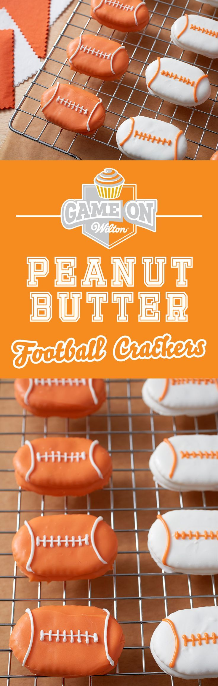 PB and crackers just got a whole lot tastier! Learn how to make these football-shaped peanut butter and cracker sandwiches dipped in delicious Candy Melts candy. These little sandwiches make a great snack for youth football teams and fans, or whenever you're watching the big game!