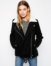 Brave Soul Biker Jacket With Shearling Collar
