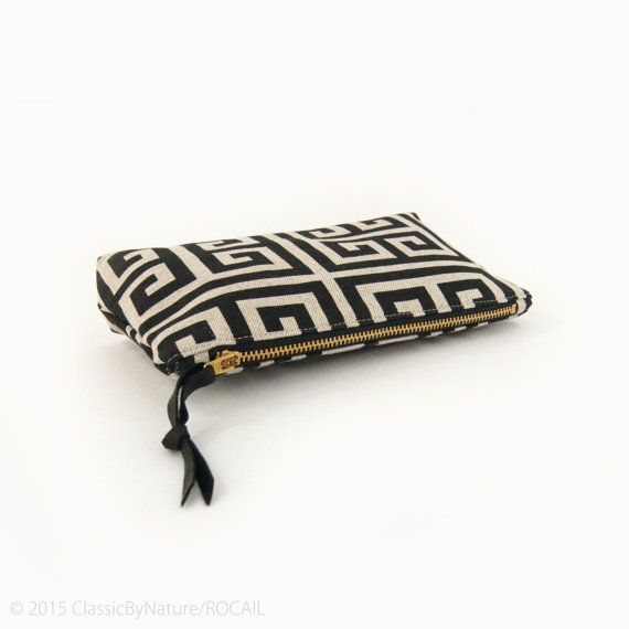 Unique gift for her: zipper pouch or small clutch bag in black and natural beige by ClassicByNature