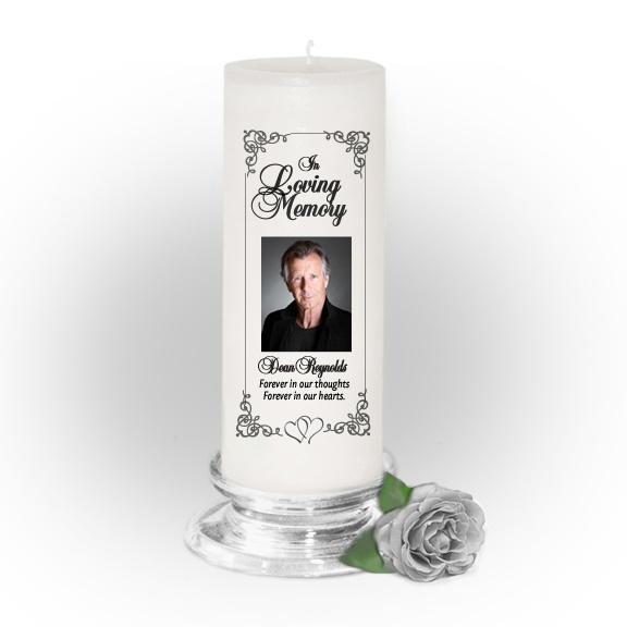 3x9 Pillar Candles : Signature Custom Memorial Pillar Photo Candle White, Unscented. Stand, optional