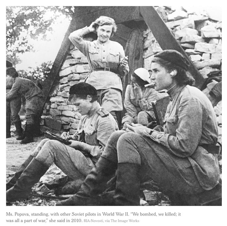 The incredibly badass Russian Night Witches. http://www.nytimes.com/2013/07/15/world/europe/nadezhda-popova-ww-ii-night-witch-dies-at-91.html?smid=pin-share&_r=0