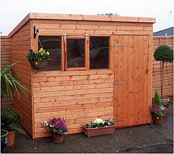 Pent roof shed, available in sizes from 4'x4' up to 24'x12', from Adrian Hall Garden Centres, Feltham.