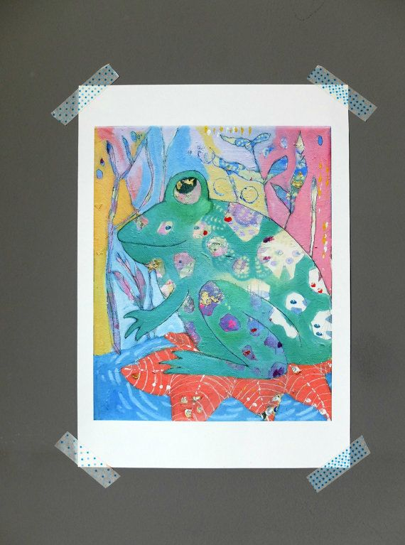 Frog, Art Print of Original Painting, Colorful Animal Art, Quirky Art, Wall Art, Kids Art, Art Gift, Choose from three different sizes