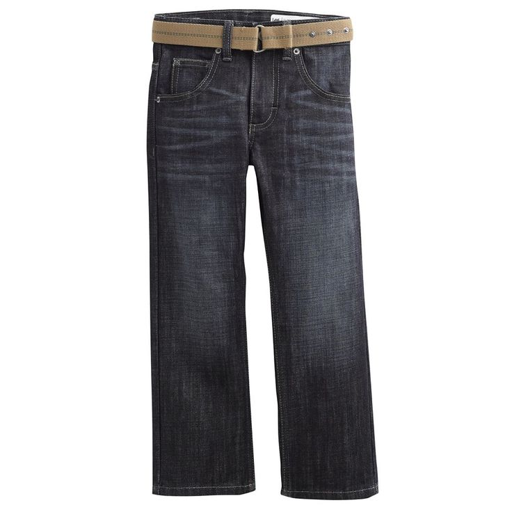 Boys 4-7x Lee Dungarees Slim-Fit Belted Jeans, Size: 7X Slim, Blue