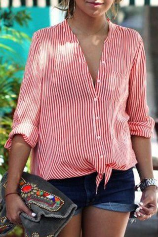 red and white button up