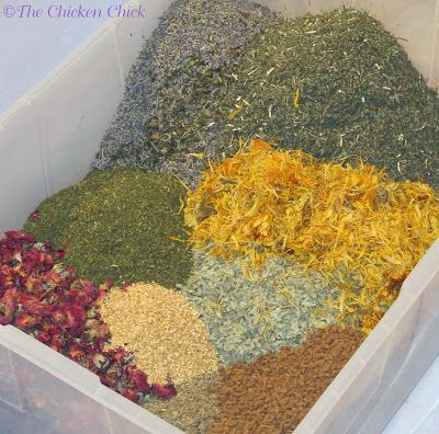 Spruce the Coop Herbal Fusion™ Ingredients Herbs (home made or bought dried) recepie for repelling insects from the coop, and some goodie for the cickens