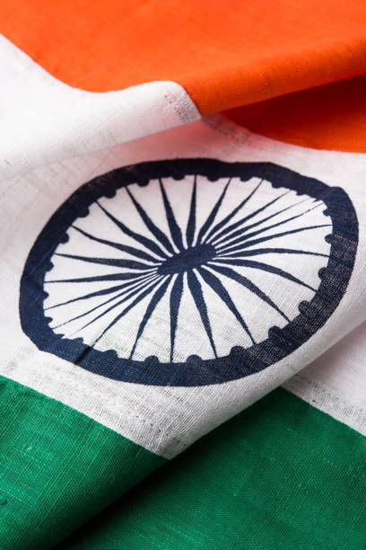 closeup picture of indian flag made up of pure cotton or khadi
