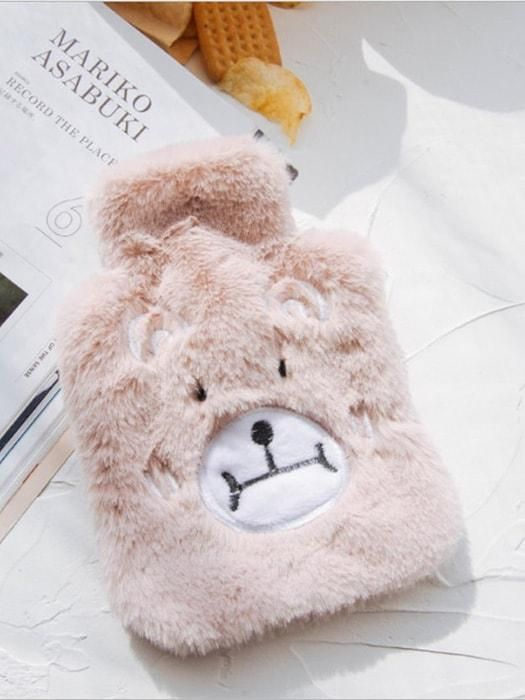 Warm Water Cartoon Bag With Faux Fur