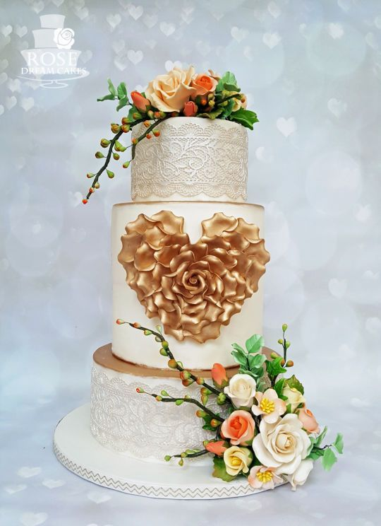Spring Heart Wedding Cake