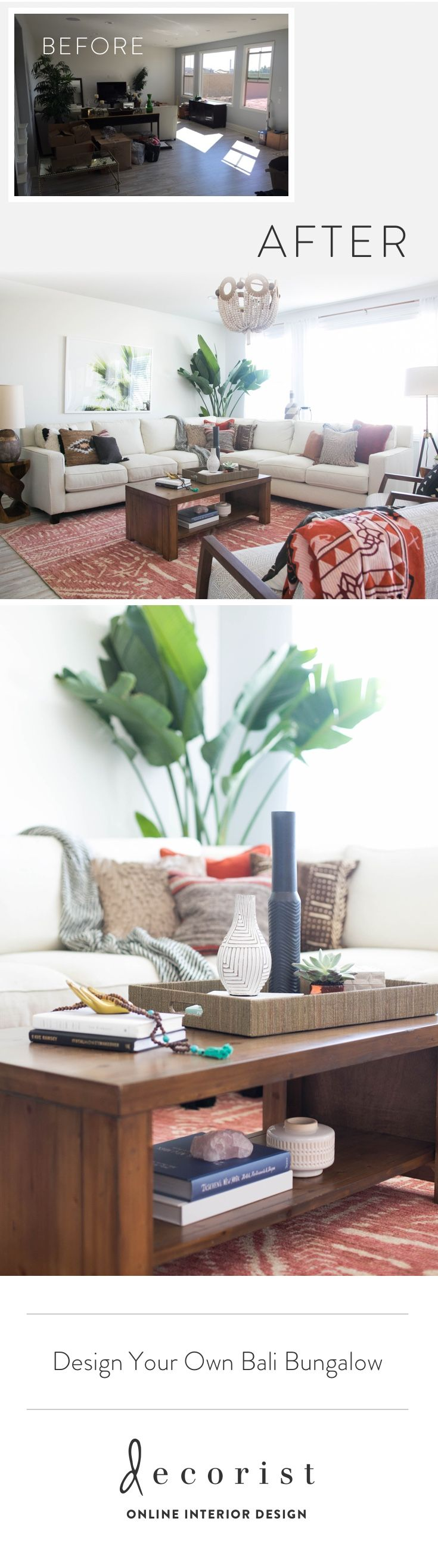 Want your own Bali bungalow living room and dining room? See this amazing Before/After and how easy and affordable it is to design with Decorist.