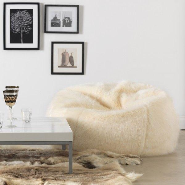 ICON™ Soho Spikey Bean Bag Faux Fur, Cream   BeanBagBazaar