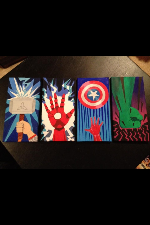 Avengers Art. My Sister is a true artist. She can draw, paint, write..she has so much talent.