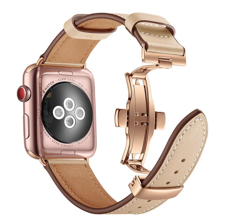 Apple Watch Series 5 4 3 2 Band, Genuine Leather, Rose