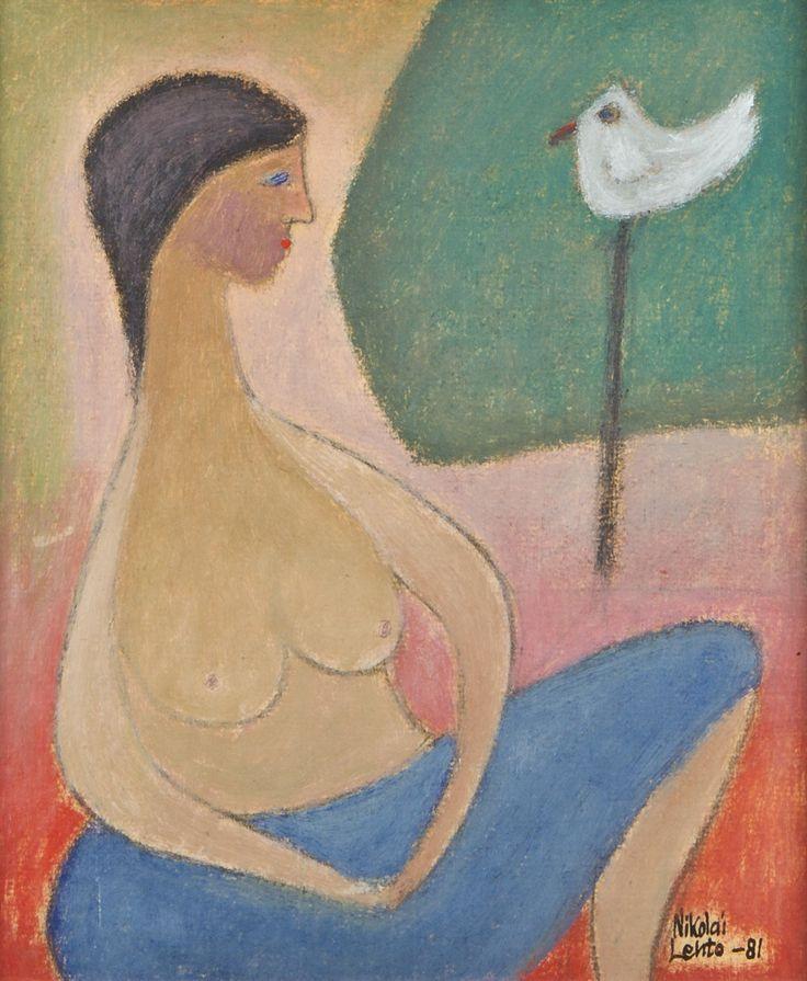 Nikolai Lehto: Nainen ja lintu, 1981, öljy, 30x27 cm - Hagelstam A135