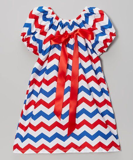 Royal Gem Red & Blue Chevron Cap-Sleeve Dress - Infant, Toddler & Girls | zulily