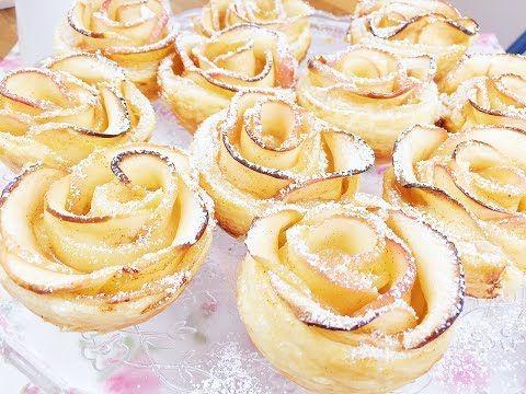 milföy hamurundan gül şeklinde elmalı cupcake / gül şeklinde elma pastasi - YouTube