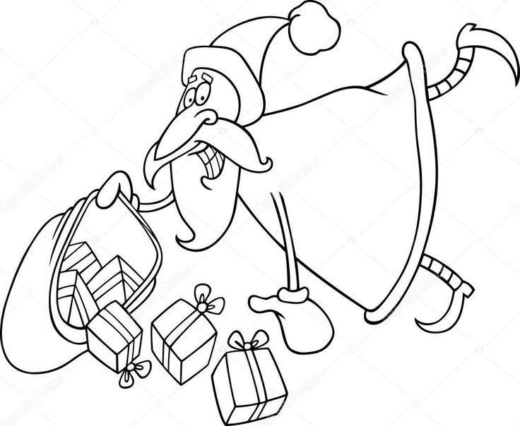 weihnachtsmann mit geschenken zum ausmalen — stockvektor